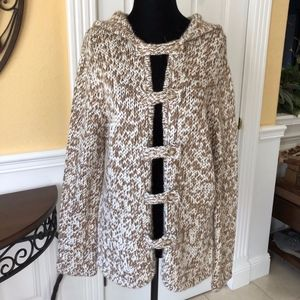 Brown and White Open Front Knitted Sweater Cardiga